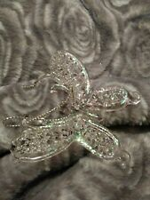 """Butterfly Spread Wings Clear Glittered Hand Blown Glass Christmas Ornament 4"""""""