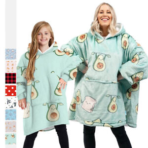 Adult Kids Printed Oversized Giant Big Hoodie Blanket Hooded Fleece Sweatshirt