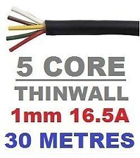 5 CORE AUTO CABLE 1.0mm 16.5 AMP CAR WIRE 30 METRES MULTICORE THINWALL 1MM  30M
