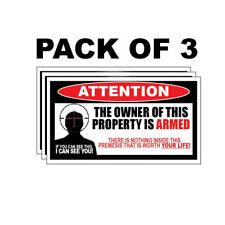 OWNER ARMED Warning Sticker 2nd Amendment Decal Gun Firearm Vinyl Pistol Permit