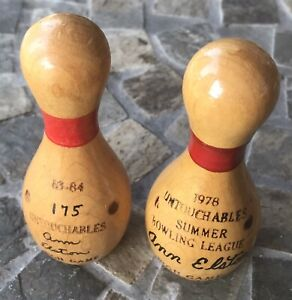 VTG Miniature Bowling Pins Untouchables Ann Elston Summer League High Game 1978
