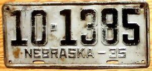 1935 Nebraska License Plate Number Tag - $2.99 Start