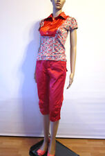 Womens Blogger Summer Mix Bundle Red Glossy Sexy Top & Crop Pants sz 10 12 AT88