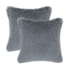 2Pcs Deep Sea Blue Cushion Cover Pillow Shells Super Soft Plush Faux Fur 45x45cm