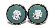 "Wedgwood: Vintage Brass & Jasperware Cameo Cufflinks ""Cupid Stringing his Bow"""