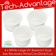 4 X WHITE BOAT YACHT RECESSED WINE BOTTLE/STUBBIES/CAN/DRINK HOLDERS WITH DRAIN