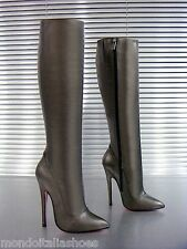 MORI ITALY EXTREME HEEL KNEE HIGH BOOTS STIEFEL STIVALI LEATHER GREY GRIGIO 37