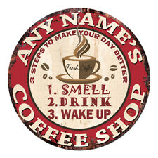 CP-0100 ANY NAME'S COFFEE SHOP Custom Personalized Chic Tin Sign Decor Gift