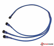 Shakmods 3 pin Fan to 3 ways Y Splitter 60cm Dark Blue Sleeved Extension Cable