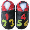 carozoo number black 12-18m soft sole leather baby shoes