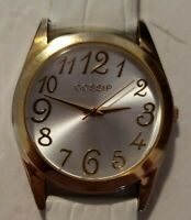 NWOT WOMEN'S GOSSIP Goldtone Wrist Watch with White Leather Band ~ NEW BATTERY