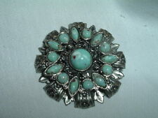 and Floral Pin in Gift Box Vintage French Faux Turquoise Fleur De Lis