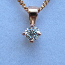 "New 1/5ct Diamond Solitaire 9ct Rose Gold Pendant Necklace & 18"" Chain £115"