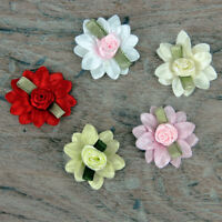 5 or  25 Double Daisy Pink Red White & Green Leaf Satin Rose Ribbon Ribbon Bows