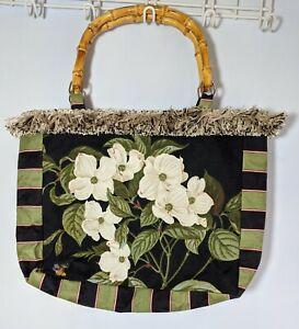 Tropical Totes Palm Beach Bag Purse Dogwood Floral Print Bamboo Handles Medium