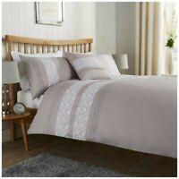 Lace Pleated Silver King Duvet Quilt Cover & Pillowcase Cotton Rich Bedding Set
