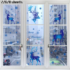 2/6/8 Sheets Christmas Window Stickers Glass Decals Xmas Elk Snowflake Static