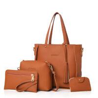 4 In 1 Women Bag Set Soft PU Leather Handle Bags Set Tote Bag Shoulder Bags