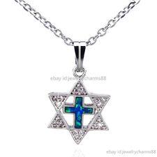"1pc Women Australia CZ Star of David Cross Blue Opal Necklace Silver Choker 16"""