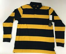 Mens Long Sleeve Stripe Rugby Polo Shirt Burnside CHOOSE A SIZE Navy Gold
