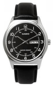 Casio Men's Analog Quartz Stainless Steel/Black Leather Watch MTPV006L-1B2