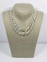Vintage Necklace 2 Strand Aurora Borealis Crystal Necklace Collar Length Sparkly