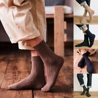 Mens Soft Cotton Rich Elastic Lot Striped Solid Socks Long Business Dress Socks