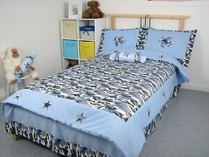 Blue Camouflage twin size 5 pcs bedding set
