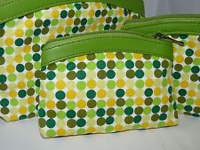 BNWT GREEN SET OF 3 COSMETIC MAKE UP BAGS RETRO TRAVEL HOLIDAY WASH BAGS NEW