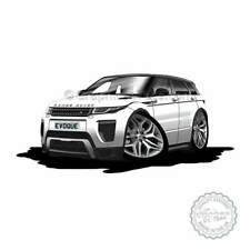 Range Rover Evoque Fuji White Car Cartoon Caricature A4 Print Personalised Gift