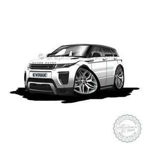 Range Rover Evoque Fuji White Car Cartoon Caricature A4 Print Personalised Gift