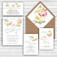 Personalised Luxury Rustic Wedding Invitations PRETTY BIRDCAGE packs of 10