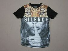 CLASSY BRAND MENS SILENCE GRAPHIC MESH JERSEY CREWNECK T SHIRT SIZE LARGE NEW