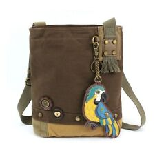 New Chala Patch Crossbody Blue Parrot Bag Canvas Dark Brown w/ Coin Purse gift