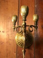 """Antique Candle Sconce 3 Stick 11"""" X 11"""" Victorian Brass"""