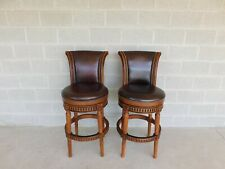 Front Gate Hawthorne Leather Swivel Stools - a Pair