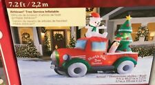 Airblown Inflatable Retro Truck with Tree Christmas Yard Decor 9x7ft