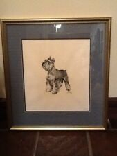 """Lovable Vintage Matted And Framed Terrier Print  25"""" Tall X 21"""" W"""