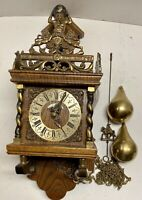 Vintage Holland Nu Elck Syn Sin Chiming Wall Clock Atlas Weights Chains Pendulum