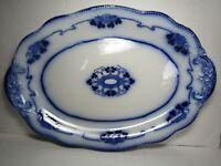 """Antique LORNE Grindley England 16"""" Flow Blue Platter w/4 Leaf Clovers/Shamrocks"""
