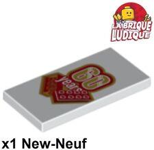 Lego 1x Tile decorated 2x4 brique 60 years ans anniversaire 87079pb465 NEUF