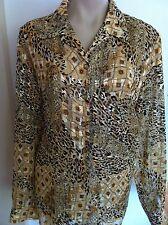 Ladies Gold Shimmer Leopard Print ROCKMANS Blouse Size 18 Design For Work