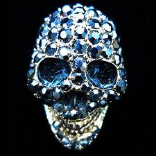 Fashion RING skull face crystal rhinestone finger glaze gold punk gothic BLUE