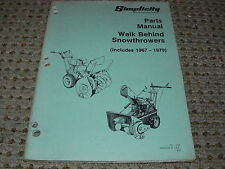 Simplicity Walk-Behind Snowthrowers Parts Manual for Years 1967-1979