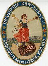 """BRASSERIE KARCHER (GRIMAUD St-Denis)"" Etiquette-chromo originale fin 1800"