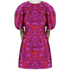 Alexander McQueen Fuchsia Pink Red Exquisite Jacquard Dress IT42 UK10
