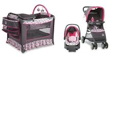 3 Piece Disney Baby Minnie Mouse Stroller Pram, Car Seat & Pack N' Play Play Pen