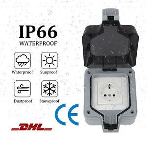 Wandsteckdose Box Für Außenbereich Steckdose IP66 250V Wasserdicht Staubdicht