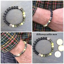 Gemstone gift Men bracelet. Connemara marble, black onyx. Irish Celtic Jewelry