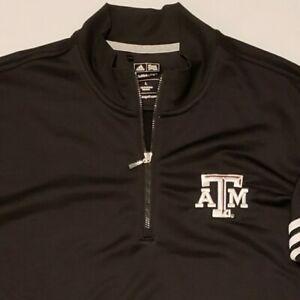 Texas A&M Aggies Large Quarter Zip Pullover Adidas Climalite NCAA 12th Man